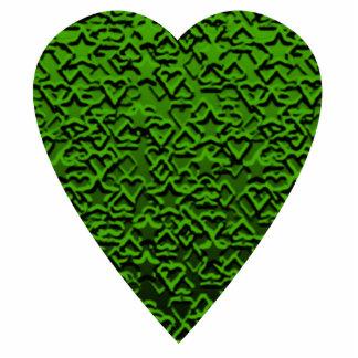 Green Heart. Patterned Heart Design. Statuette