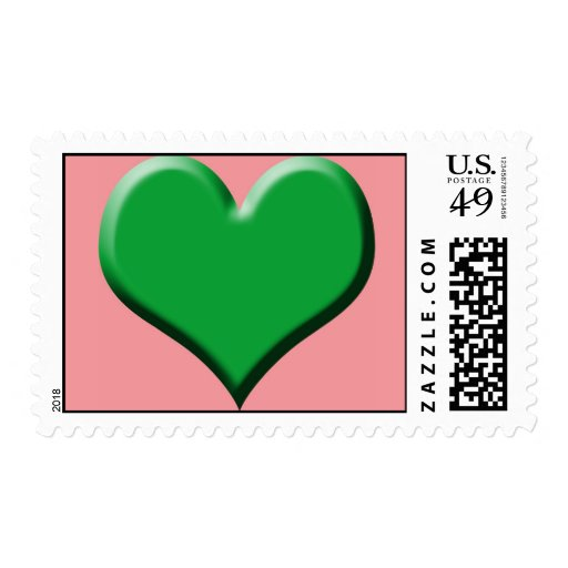 Green Heart Pink Postage