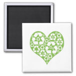Green Heart Recycle Magnets
