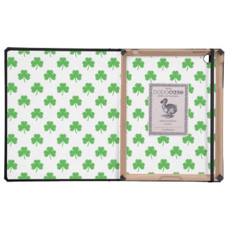 Green Heart-Shaped Clover on White St. Patrick's Case For iPad