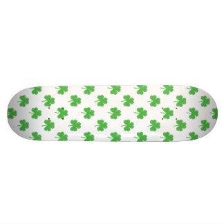 Green Heart-Shaped Clover on White St. Patrick's Skate Board