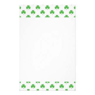 Green Heart-Shaped Clover on White St. Patrick's Stationery