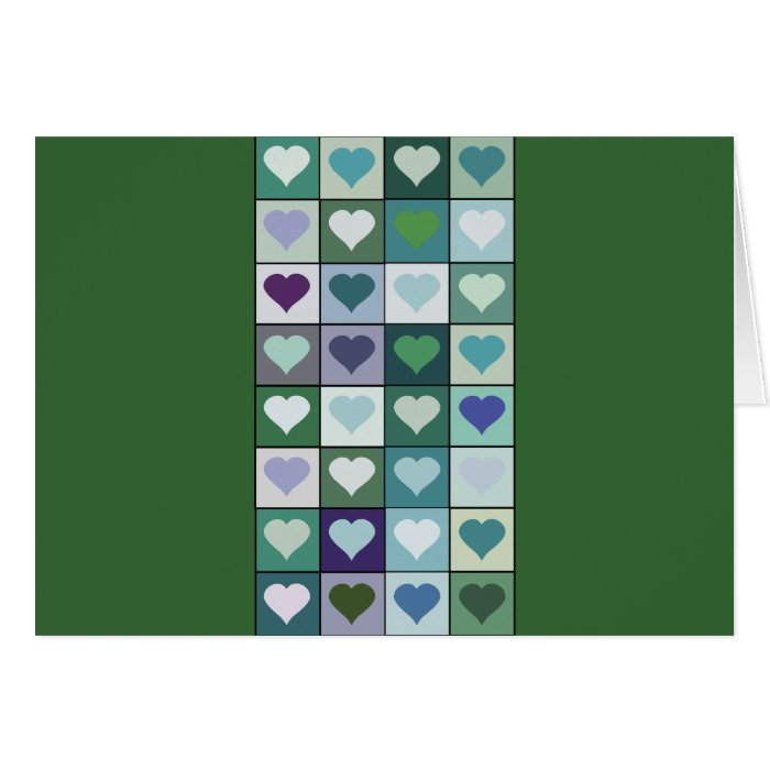 Green Heart Squares Card