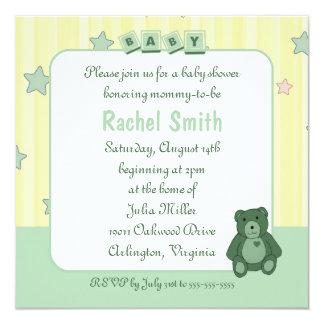"Green Heart Teddy Bear Baby Shower Invitation 5.25"" Square Invitation Card"