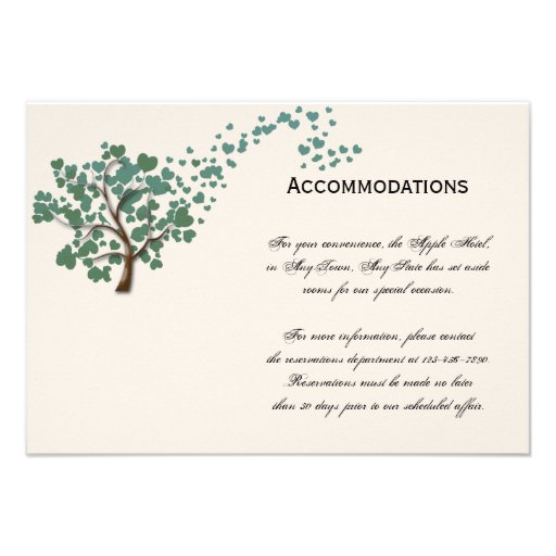 Green Heart Tree on Ivory Accomodations Personalized Invites