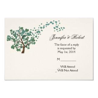 Green Heart Tree on Ivory Response Card