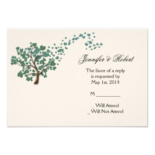 Green Heart Tree on Ivory Response Card Personalized Invitations