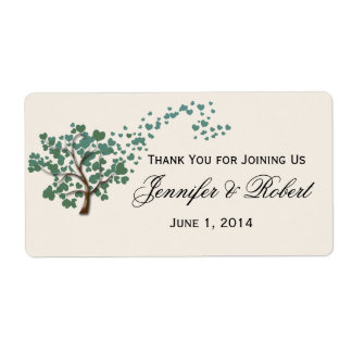 Green Heart Tree on Ivory Wed Water Bottle Label Shipping Label