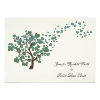 Green Heart Tree on Ivory Wedding 5x7 Paper Invitation Card