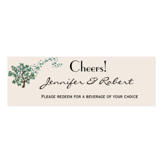 Green Heart Tree on Ivory Wedding Drink Ticket Double-Sided Mini Business Cards (Pack Of 20)