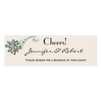 Green Heart Tree on Ivory Wedding Drink Ticket Mini Business Card