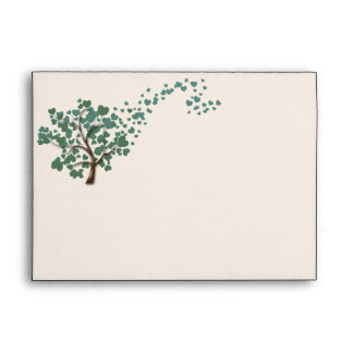 Green Heart Tree on Ivory Wedding Envelope