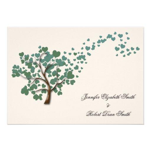 Green Heart Tree on Ivory Wedding Custom Announcements
