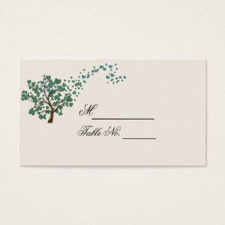 Green Heart Tree on Ivory Wedding Place Card