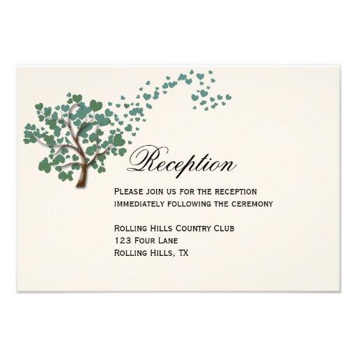 Green Heart Tree on Ivory Wedding Reception Card