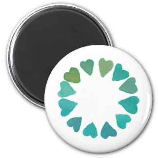 green heart watercolour handpainted design magnet