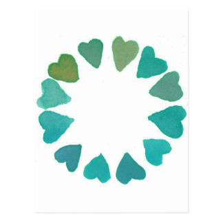 green heart watercolour handpainted design postcard