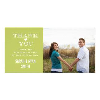 Green Heart Wedding Photo Thank You Cards Custom Photo Card