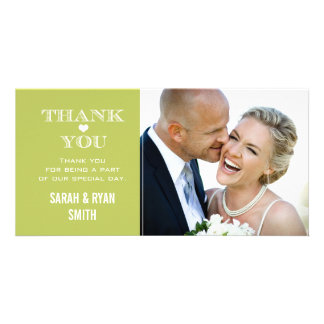 Green Heart Wedding Photo Thank You Cards Picture Card