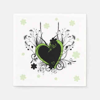 Green heart white napkin