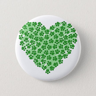 Green Heart with Animal Paws Pinback Button