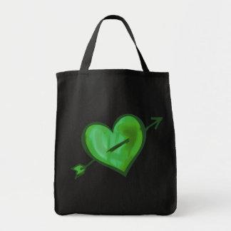 Green Heart with Arrow Canvas Bag