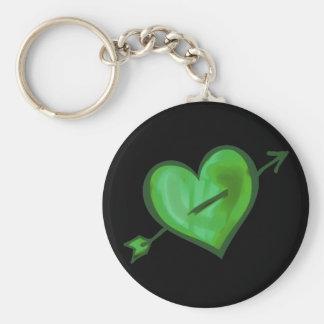 Green Heart with Arrow Keychain