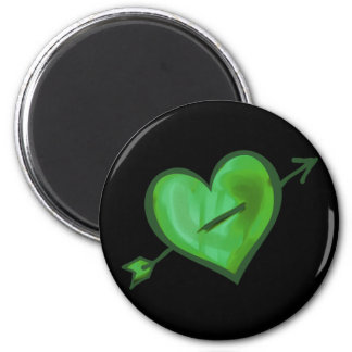 Green Heart with Arrow Fridge Magnets