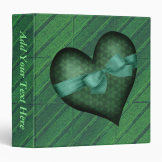 Green Heart with Bow 3 Ring Binder