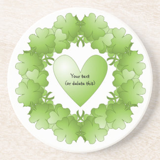 Green heart with clover frame drink coaster
