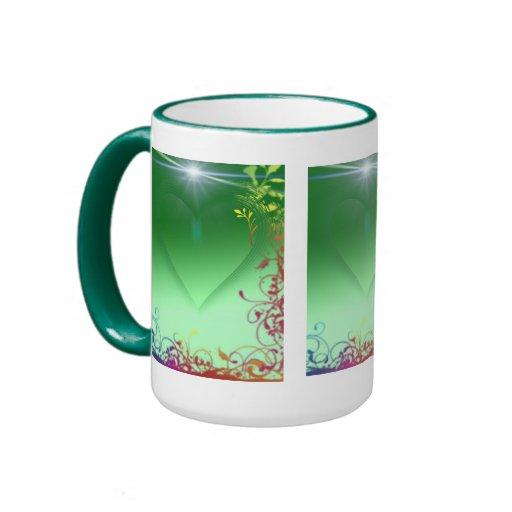 Green Heart with Frilly Border Mug