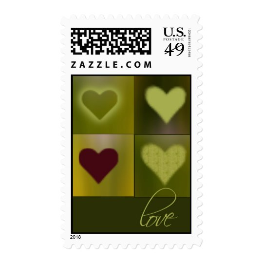 Green hearts .... and one red postage