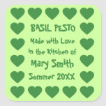 Green Hearts Custom Canning Labels Square Stickers