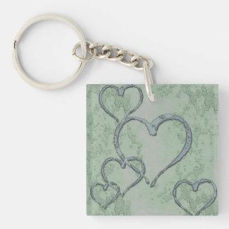 Green Hearts Keychain