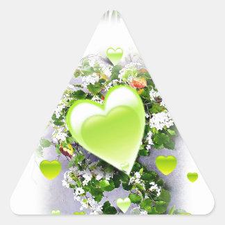 Green Hearts of Love_ Triangle Sticker