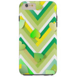 Green Hearts on Zigging Lines Tough iPhone 6 Plus Case