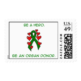 Green Hearts Ribbon Donor Postage