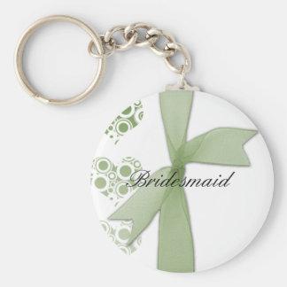 Green Hearts & Ribbons Keychain