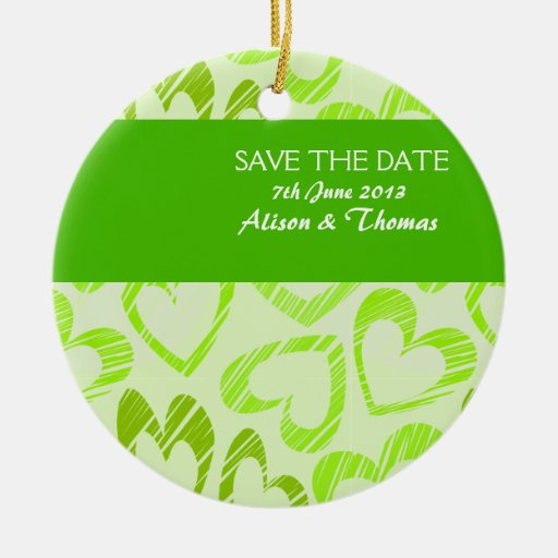 Green hearts 'Save the date' Ornament
