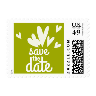 Green Hearts Save the Date Stamp