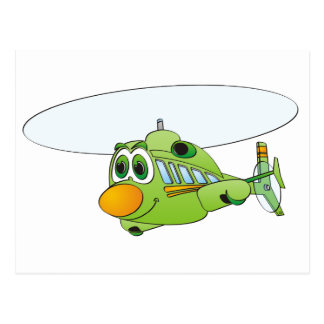 Green Helicopter Cartoon Postcard
