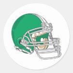 Green Helmet Round Sticker