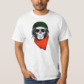 Green Helmeted Skull T-Shirt