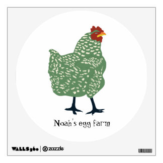 Green hen wall art - customize or remove text wall decal