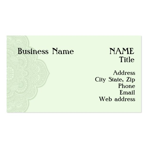 Green henna business card zazzle for Henna business cards