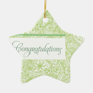Green Henna Congratulations Ceramic Ornament
