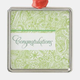 Green Henna Congratulations Metal Ornament