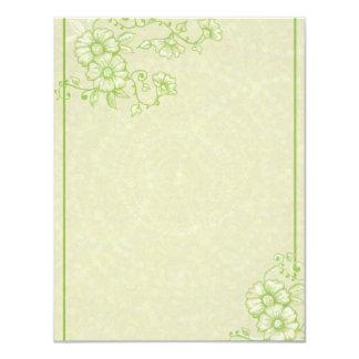 Green henna Flowers RSVP Card