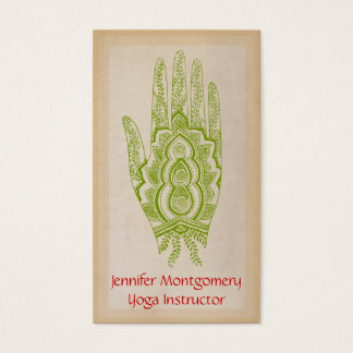 Green Henna Hand Yoga Instructor Business Card