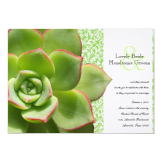 Green Hens and Chicks Succulent Wedding Invitation